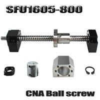Ballscrew 800mm SFU1605 rolled ball screw C7 with end machined +1605 ball nut + nut housing+BK/BF12 end support + coupler RM1605