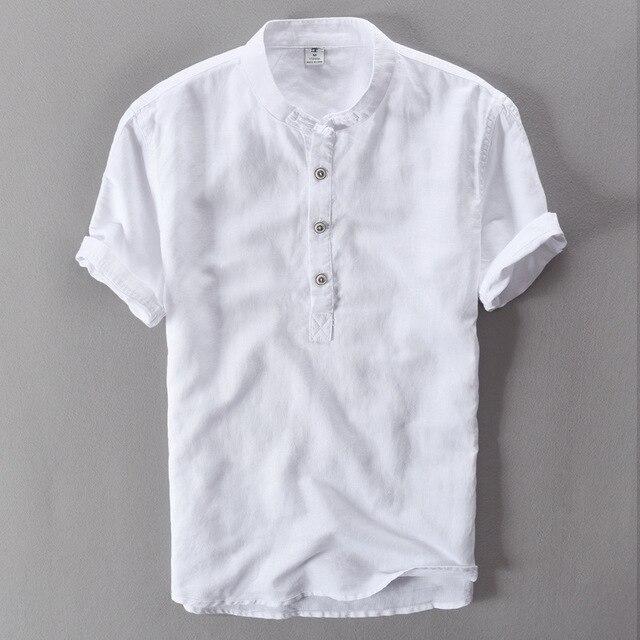 Pantaloni di lino estate 2019 degli uomini della Camicia a maniche corte t-shirt respira Fresco camicie