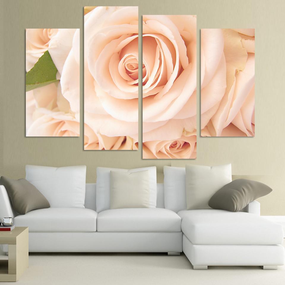 Aliexpress Buy 4 Pieces Beautiful Pink Rose Flower Wall Art