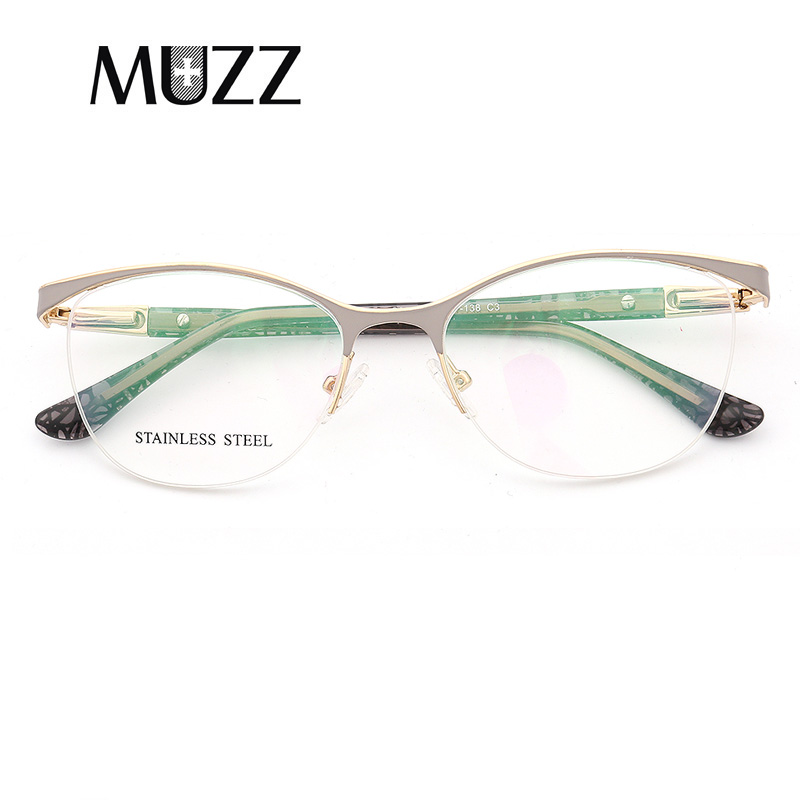 MUZZ Cat Eye Style Women Optical Glasses Frames Metal Glasses Frame Women Prescription Eyewear Clear Myopia Computer Eyeglasses