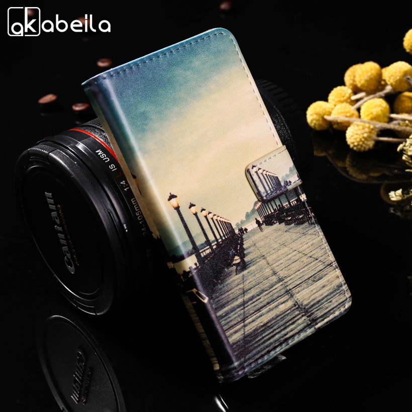 AKABEILA Luxury Painted Cases For Huawei Honor 8 Lite P8 Lite 2017 P9 Lite 2017 Nova Lite Honor 8 Youth Edition Wallet Covers