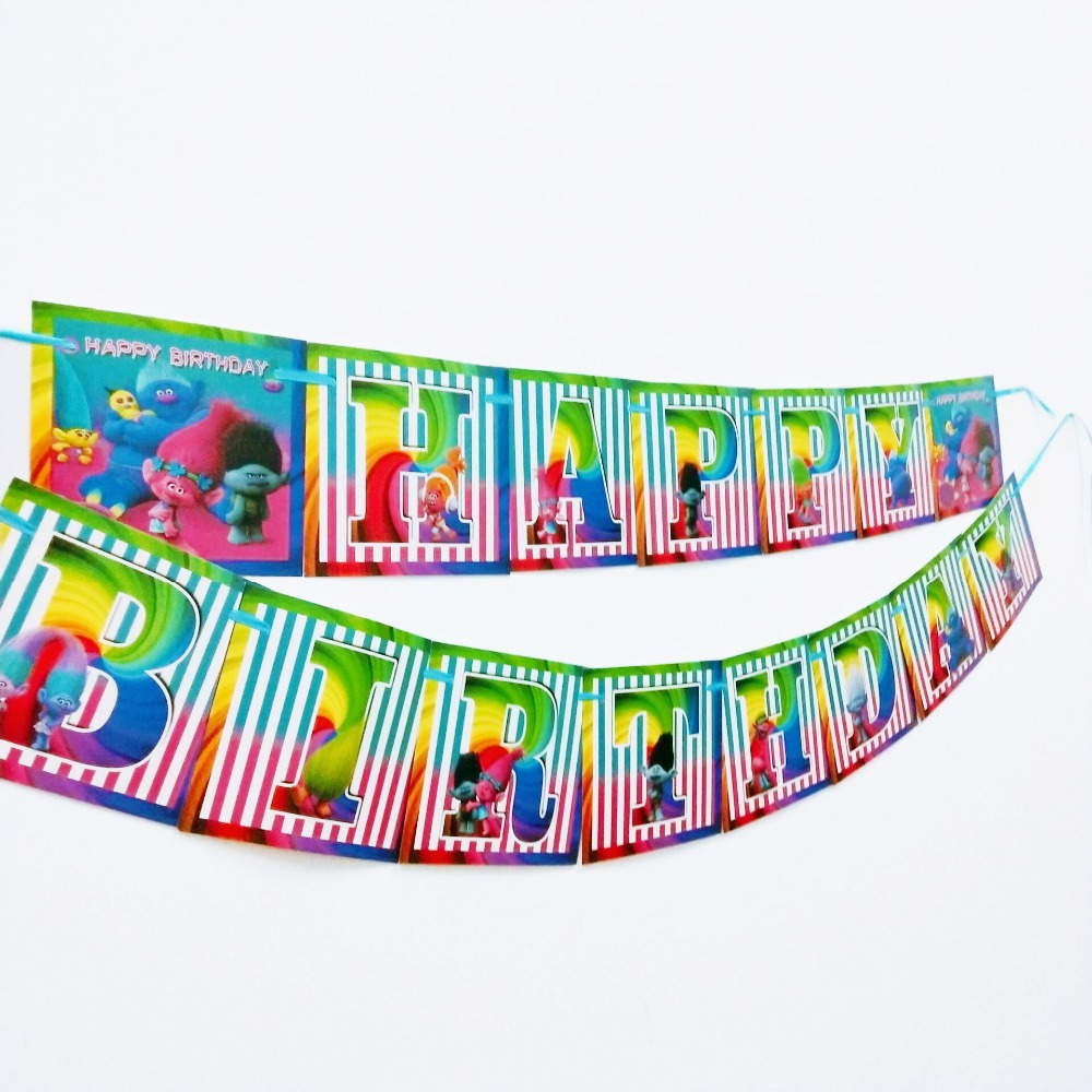 1pc set Kids Birthday Party Supplies Trolls Party Pennant Bunting Birthday Decorations Flag Banners Boys Event Party Supplies in Banners Streamers Confetti from Home Garden