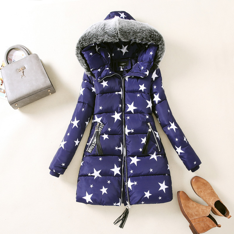 Women Printed Coats With Fur Collar Slim Cut Ladies Zipper Jackets Ladies Winter Parkas Mid-Length Outerwears Female Outfits