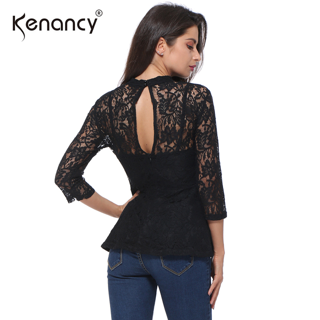 6ad660c48a7242 Kenancy 2018 Women Tops Blusas Femininas 3/4 Sleeve Patchwork Blouse Summer Lace  Shirt Sexy