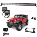 1 x 300W 52'' LED Light Bar + 2 x 18W Light Bar Work Light + Windshield Mounting Brackets for Jeep Wrangler JK 07-15 4WD SUV