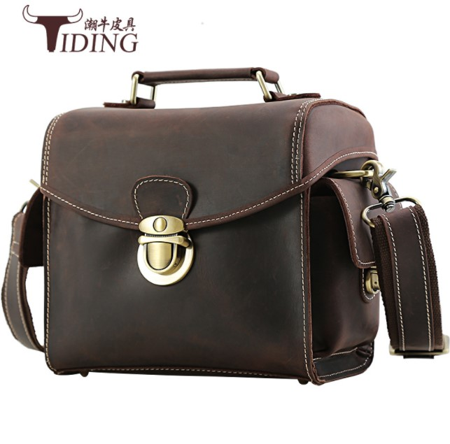 men camera bag crazy horse leather 2018 new man brand fashion vintage real leather brown travel camera bags male small handbags free shipping brand new horse leather clothing man s 100