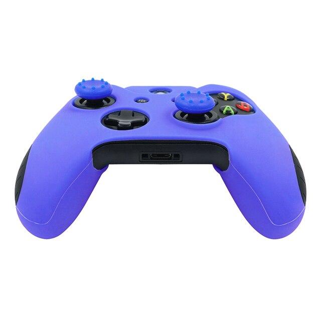 Funda protectora de silicona antideslizante con tapones para el pulgar para Xbox un controlador azul