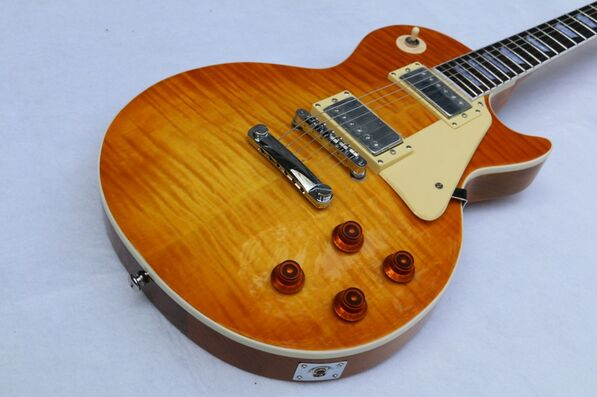Instruments de musique LP chibson tigre flamme guitare électrique guitarra, guitare une pièce cou, livraison gratuite