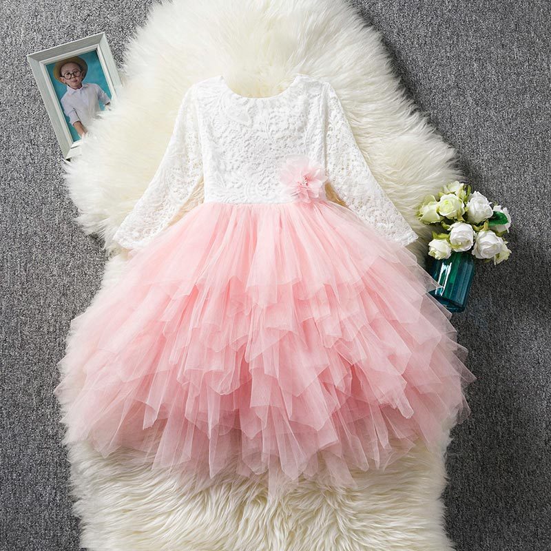 Children's Clothing Girl Floral Lace Princess Tutu Dress Wedding Gown Dress Girls Clothes For Kids Party Wear Meninas Vestidos 2018 winter girls fancy mini floral party wear clothing for children sleeveless lace princess wedding dress prom dress for teens
