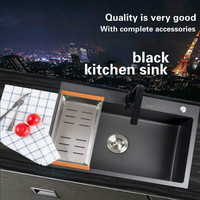 Free Shipping Standard Mini Kitchen Manual Sink Single Trough Black Durable Food Grade Stainless Steel Hot