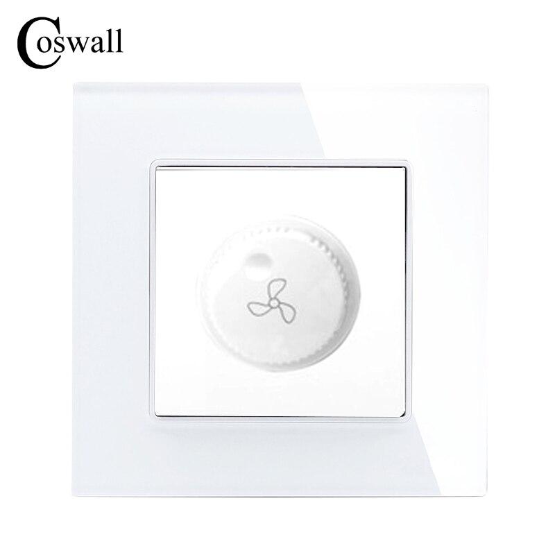 COSWALL Fan Regler Luxus Kristallglas-verkleidung Wand Schalter Interruptor 16A Maximale 300 Watt