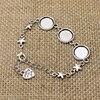 3pcs/lot Antique silver Metal Zinc Alloy 12mm Round Bracelet Cabochon Setting Jewelry Blank Bracelet Findings Bracelet made T562