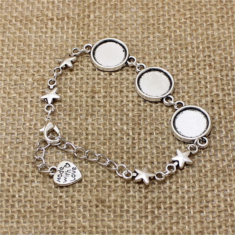 Bracelet rond Antique en alliage de Zinc, argent et métal, 12mm, cadre de Cabochon, bijoux vierges, T562, 3 pièces/lot