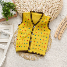 Retail childrens waistcoat New Fashion children v-neck vest boys 100% cotton kids sweater