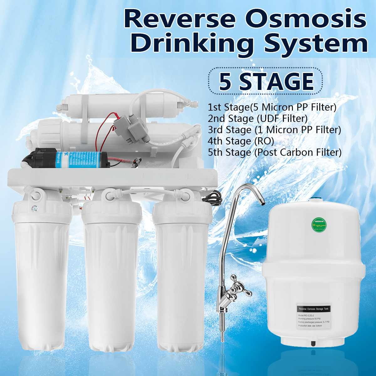 5 Stage RO Reverse Osmosis System Drinking Water Filter Kitchen Purifier Water Filters Membrane System Filtration With Faucet