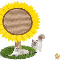 HobbyLane Round Sisal Sunflower Shape Cat Scratch Board Cat Jumping Climbing Play Toy Furniture for Pet Kitten