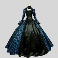 Индивидуальные 2018 Лето готический викторианской Платья для вечеринок на Хэллоуин синий и фиолетовый цветочный узор Бал маскарад платья дл