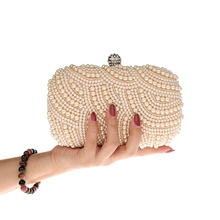 2019 Women Evening Clutch Bag Beige Black Wedding Purse Party Handbag Lady Day Clutches Diamond Pearl Beads Female Chains Bags цена 2017