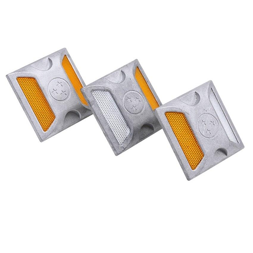 5pcs LED Road Guide Light Reflective Spike Cast Aluminum Beads Dual Protuberant Signpost Ground Reflective Spike Raised Sign