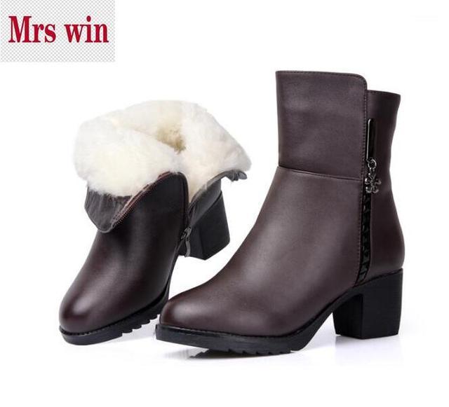 2017 зимняя обувь натуральная кожа сапоги женская обувь теплые хлопковые шерстяные ботинки матери утолщаются теплые зимние сапоги зимние женские ботинки