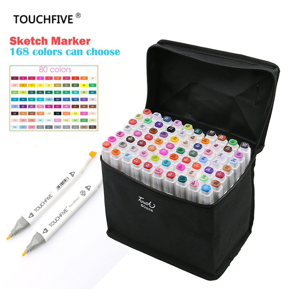 TouchFIVE 80 Colors Art Marker Set Alcohol Based Brush Pen Liner Dual Head Student Sketch Markers Drawing Manga Art Supplies sketch marker pen 218 colors dual head sketch markers set for school student drawing posters design art supplies
