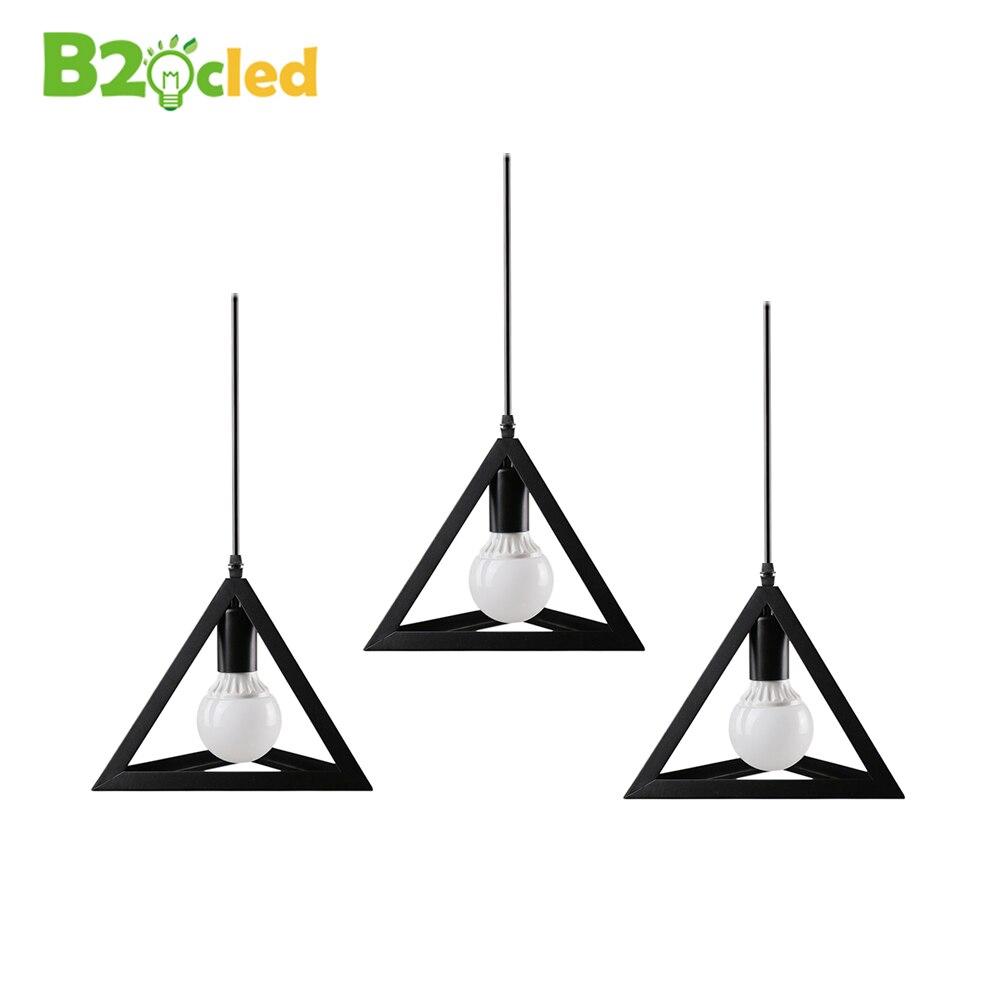 European minimalist style Triangle pendant lamp LED light Single head Retro iron art pendant light white black with E27 bulb