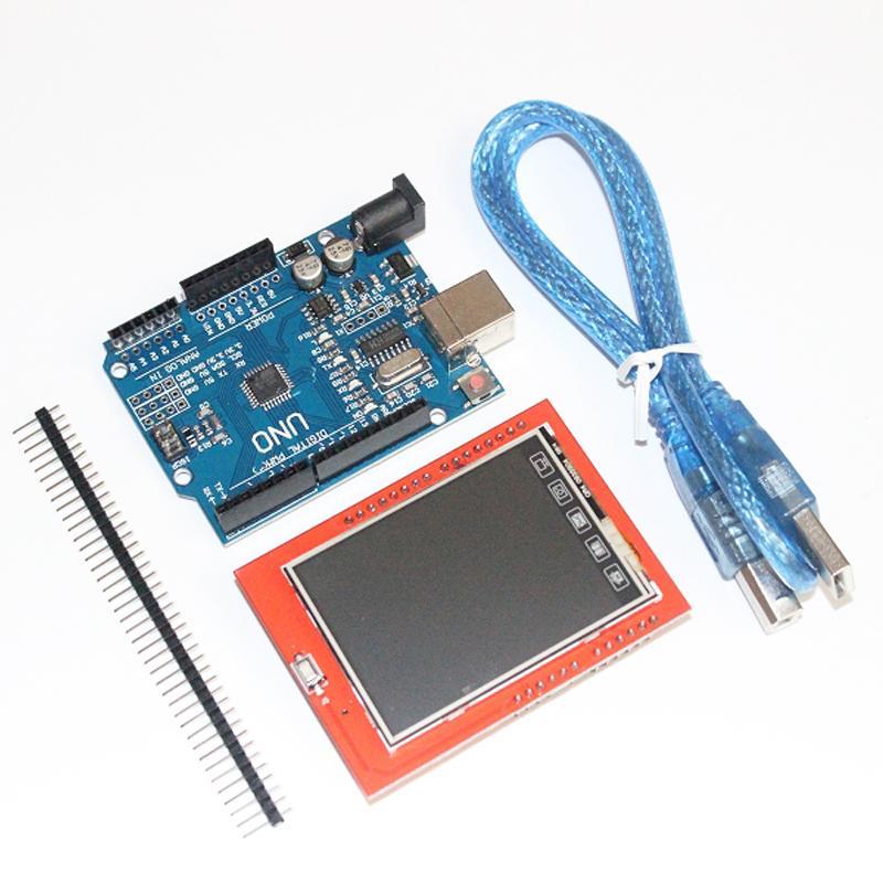 UNOR3 UNO R3 MEGA328P Conseil de Développement + 2.4 Pouce TFT Écran tactile LCD Module Affichage Écran pour Arduino DIY Starter Kit