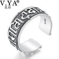 Wholesale 100 Real Pure 925 Sterling Silver The Sixth Mantra Ring Lucky Opening Ring Fine Jewelry