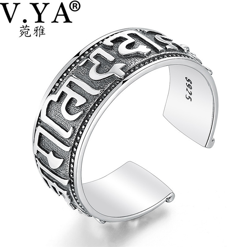 100% Real Pure 925 Sterling Silver Ring The sixth mantra Ring Lucky Opening Rings for Men Women Fine Jewelry free shipping HYR02