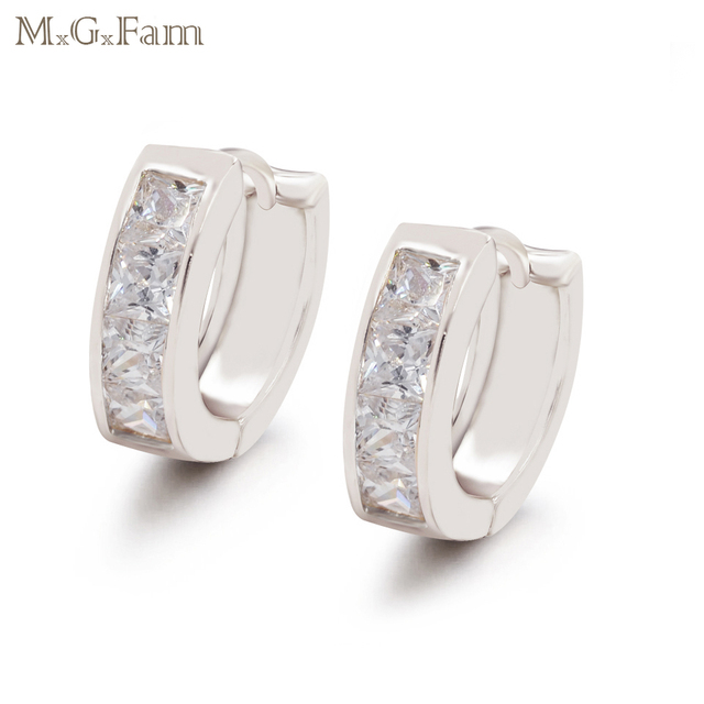 af8ecd754 MxGxFam Women's Hoop Earrings Square AAA+ Cubic Zircon lead and Nickel Free  Forbid Allergy white Gold Color