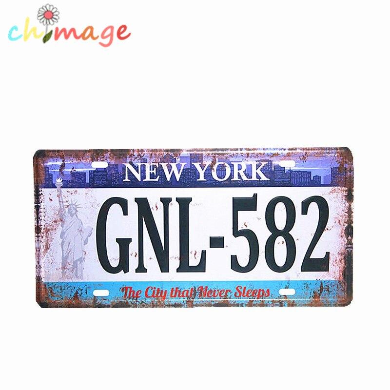 New York Gnl 582 Car License Plate Vintage Tin Sign Bar Pub Home Kitchen Wall