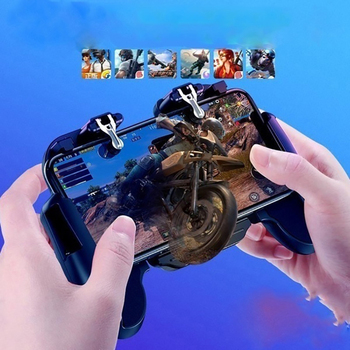 3 In 1 H5 Mobile GamePad Cooler Cooling Fan Fire PUBG Mobile Game Controller Gamepad Joystick Metal L1 R1 Trigger for iPhone 7/X