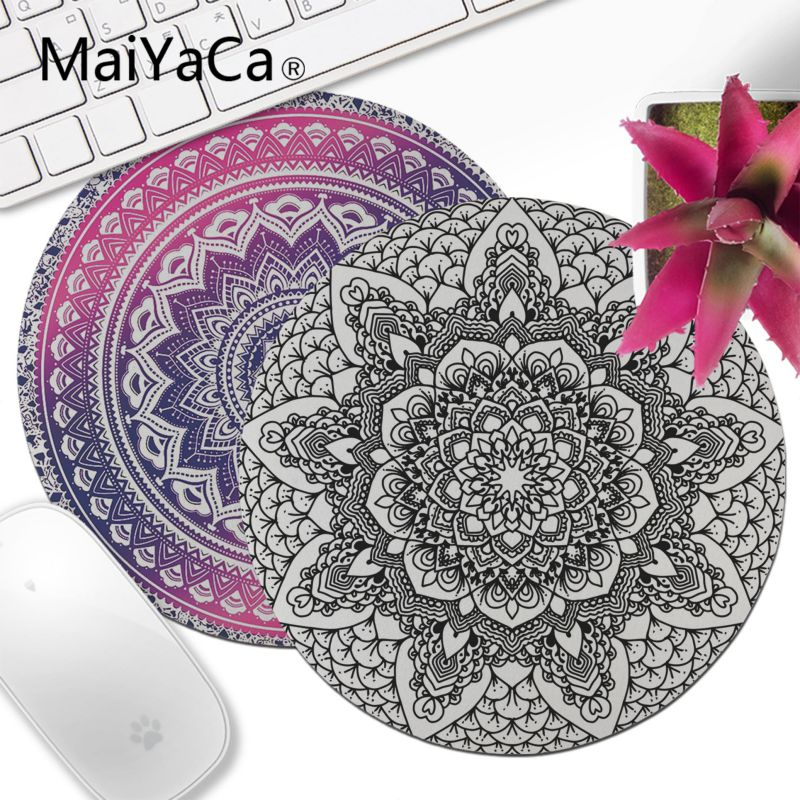 MaiYaCa Custom Skin Mandala Flower Unique Desktop Pad Round Mousepad Keyboards Mat Gamer Gaming Mouse Pad Round Desk Mat Muismat