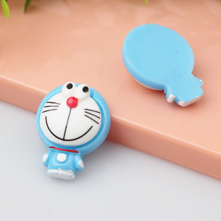 100pcs/lot flat back resin lovely Doraemon Viking 19*25mm Cabochon Girls Hair Bow Center Making Boys Crafts DIY