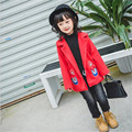 Fast High Quality 2016 Korean Autumn Winter Casual Children Clothes Cute Casual Long Red Warm Wool Coat Outwear Girls Clothing