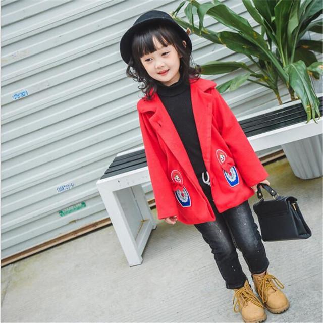 Rápida de Alta Calidad 2016 de Corea Del Otoño Invierno de Los Niños Ocasional Ropa Casual Lindo Largo Rojo de Lana Caliente Outwear Niñas Ropa