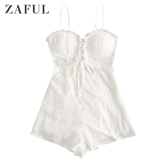 ZAFUL Women Playsuits 2019 Summer Elegant Sexy Party Rompers Spaghetti Strap Lace Up Casual Cotton British Vintage Lace Jumpsuit 1