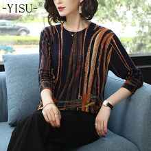 YISU Women Sweater 2019 fashion Spring Autumn Warm Pullovers Sweater stripe Printed Sweaters Female Knitted sweaters Female(China)