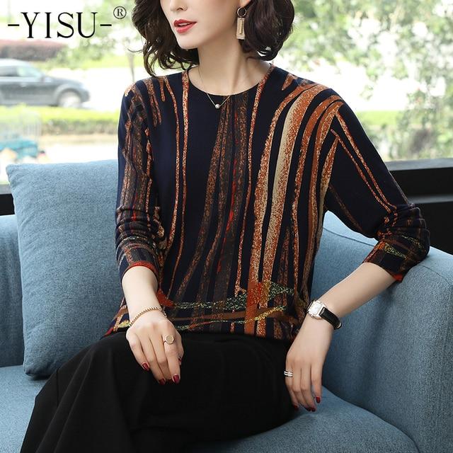 YISU Women Sweater 2019 fashion Spring Autumn Warm Pullovers Sweater stripe Printed Sweaters Female Knitted sweaters Female