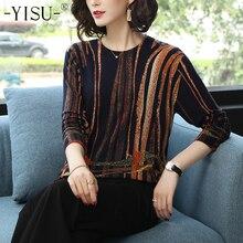 Yisu 여성 스웨터 2019 패션 봄 가을 따뜻한 풀오버 스웨터 스트라이프 인쇄 스웨터 여성 니트 스웨터 여성