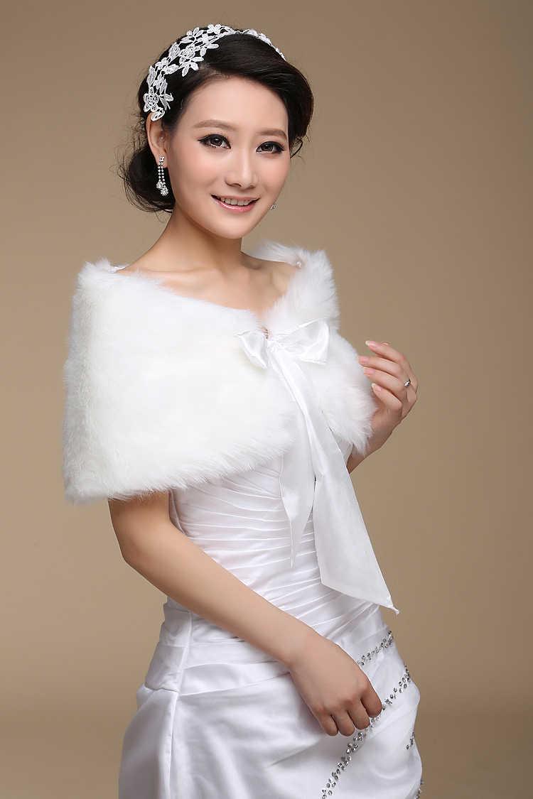 In Stock Fur Shawl Wedding Wrap For Formal Dress Cheongsam Married Outerwear Bridal Cape Autumn Winter Jacket Bolero OJ00165