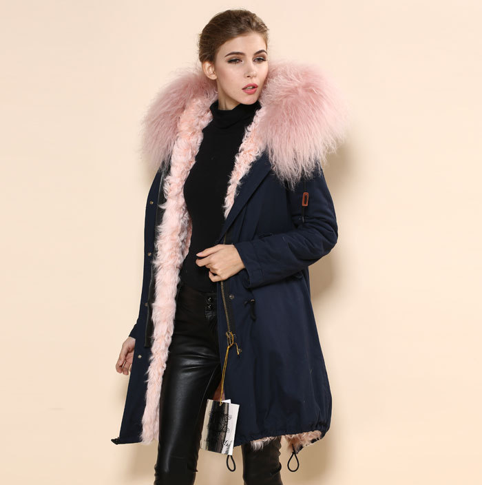 2017 High Quality mr&mrs fur parka coat,China real fur hood jacket ...