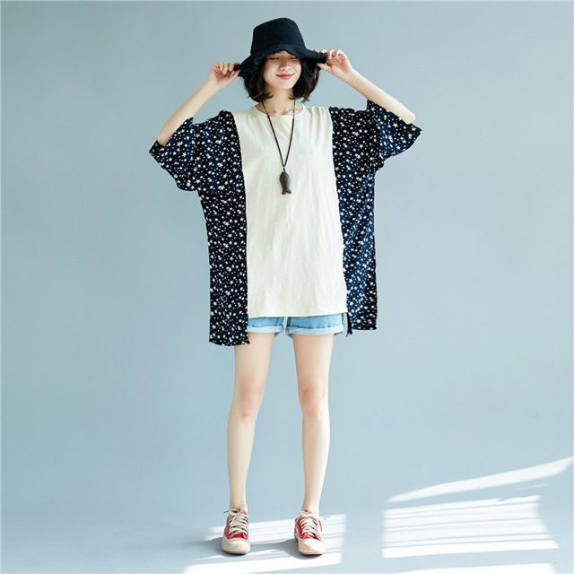 Lady's Casual Plus Size Batwing Sleeve Star Patchwork Cotton T shirt 2018 Spring Lagenlook Loose Shirts Fashion Baggy Tops Tees