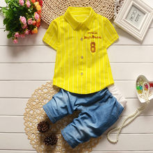 Toddler Kids Baby Boy Letter Stripe T shirt Tops Jeans Pants Clothes Outfits Set Roupas Infatil Masculino Toddler Boy Set(China)