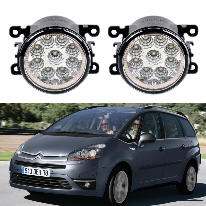 For Citroen C4 Picasso I UD_ / C4 Grand Picasso I UA_ 2007-2013 Car Styling 9 Pieces Led Fog Lights 12V 55W Fog Head Lamp for citroen c4 picasso ud