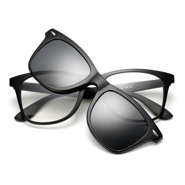 3c0e4e90f3 TR90 Polarized Magnetic Clip Men Myopia Glasses Lightest Eyeglasses Frame  Man Sunglasses Magnet 3 Clips Spectacles Night Vison