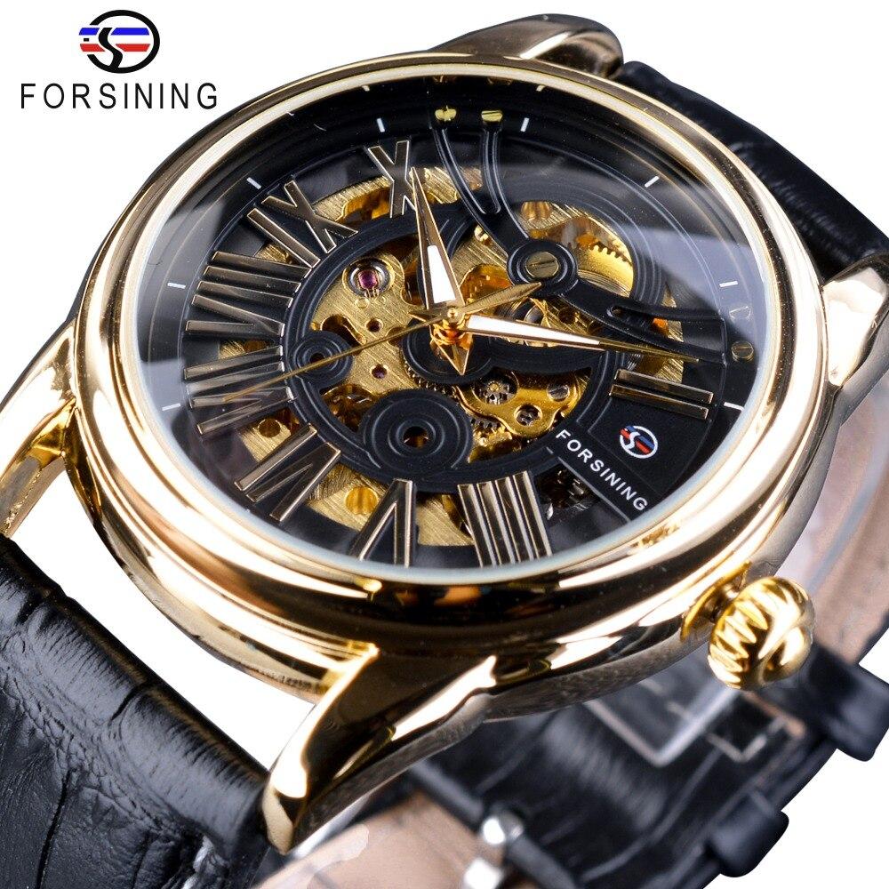 Forsining venta exclusiva oficial cinturón de cuero diseño moderno romano reloj esqueleto automático para hombre marca superior de lujo