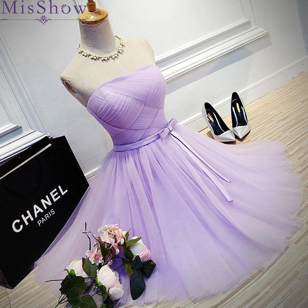 Women Cocktail Party Dress 2019 MisShow Elegant A-Line Mini Lilac Prom Dress Lady Cocktail Dresses Prom Party Short Dress