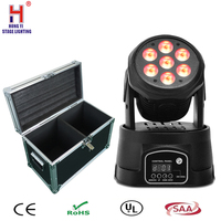 7x12W Mini LED DMX Spot light Club DJ Stage Lighting Party Disco Moving heads Light with flight case (2pcs/lot)
