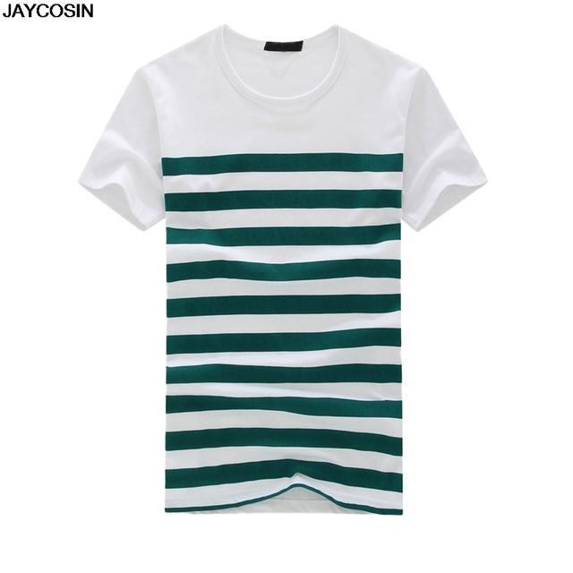 JACOSIN New Men's Fashion Casual Stripe Printing Short Sleeves T-shirt Pullover Fit male Summer Blouse Tee size M-2XL 2019311